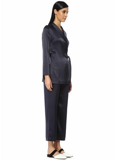 Nanushka Yüksek Bel Saten Pantolon Lacivert